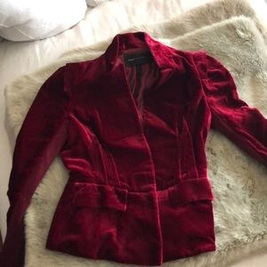 BCBG MAXAZRIA, red velvet dress jacket
